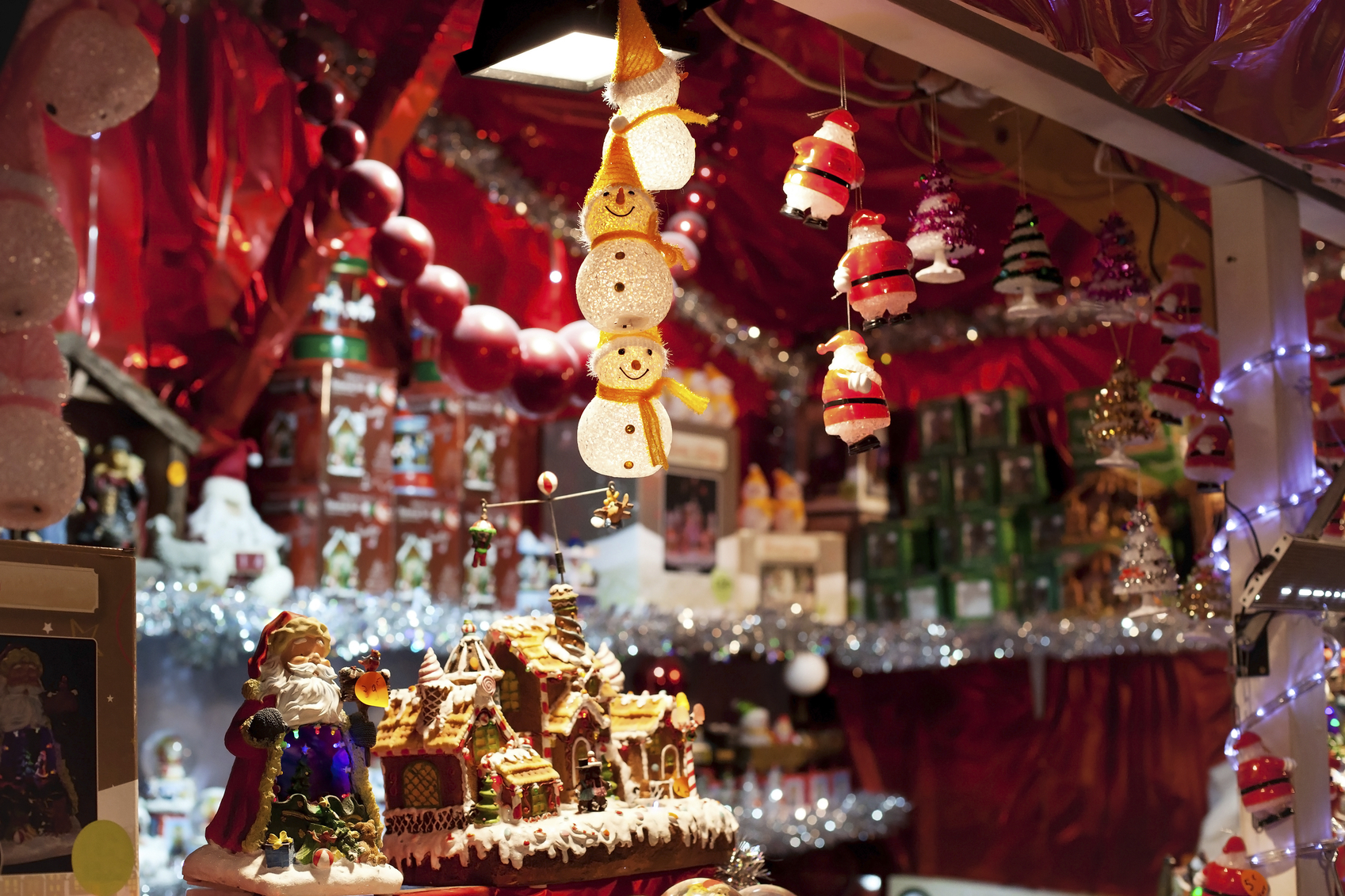 Decorations for sale on christmas market