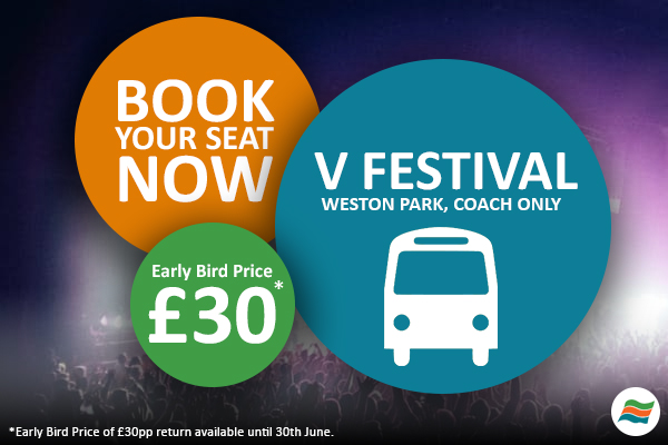 Cheap coach tickets to V Festival 2017, Staffordshire site. Early Bird tickets are £35pp.