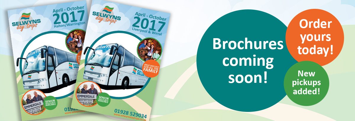 Order your day trips brochure today. New pickups added for coach trips from Warrington.